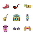leisure icons set cartoon style vector image vector image