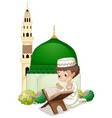 little boy praying at mosque vector image vector image