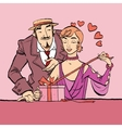 Love and romance Retro woman opens the gift vector image