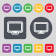 monitor icon sign A set of 12 colored buttons Flat vector image vector image