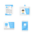 office supplies flat design color icons set vector image