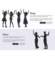 party and dance posters with colleagues dancing vector image vector image
