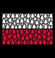 poland flag mosaic of fir-tree icons vector image
