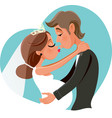 pregnant bride kissing groom cartoon vector image vector image
