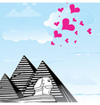 Pyramid and sphinx sphinks objects as travel love vector image