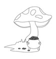 raw mushroom cartoon vector image