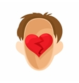 red heart in head icon in cartoon style vector image vector image