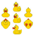 set color with toy yellow duck vector image