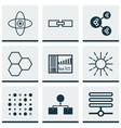 set of 9 machine learning icons includes variable vector image vector image