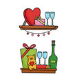 shelves with valentines day icons for design vector image vector image