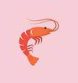 shrimp in flat style vector image vector image