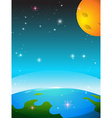 Space scene with earth and moon vector image vector image