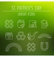 St Patricks day linear icons set vector image vector image