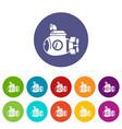 submarine ocean icons set color vector image vector image