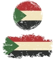Sudanese round and square grunge flags vector image vector image