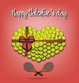 tennis balls laid out in the shape of the heart vector image vector image