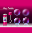 transparent soap bubbles realistic tube 3d vector image