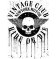 vintage motorcycle with skull tee graphic design vector image vector image