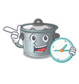 with clock cartoon cookware stock pot in kitchen vector image