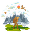 young active man hiking to nature with mountain vector image