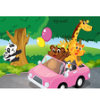Bears climbing and a pink car full of animals vector image vector image