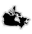 black silhouette of the country canada with the vector image