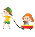 boy pulling red cart with girl