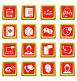 call center symbols icons set red vector image vector image