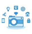 camera photo wifi technology app vector image