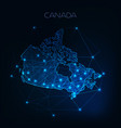 canada map outline with stars and lines abstract vector image