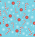 christmas candy pattern on blue background vector image vector image