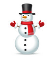 christmas snowman with top hat scarf and mittens vector image
