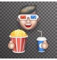 Cinema 3D Glasses Big Popcorn Soda Water Male Guy vector image vector image