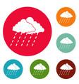 cloud rain storm icons circle set vector image vector image