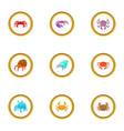 crustacean icons set cartoon style vector image vector image
