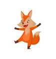 cute funny cartoon red fox character having fun vector image