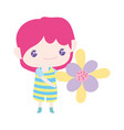 cute little boy cartoon holding beautiful flower vector image