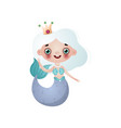 cute mermaid girl with white hair and crown on vector image vector image
