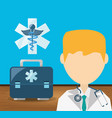 doctor with stethoscope and briefcase with vector image vector image