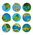 earth planet set globe with ocean and green vector image