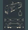 electric locomotive drawings vector image vector image