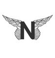 elegant dynamic letter n with wings linear design vector image