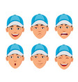 face expressions of man in blue cap vector image vector image