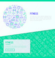 fitness concept in circle with thin line icons vector image vector image