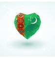 Flag of Turkmenistan in shape diamond glass heart vector image vector image