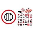Globe Flat Icon with Bonus vector image vector image