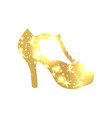 golden shoes symbol with silhouette and gold vector image vector image