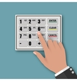 hand presses on button of the ATM vector image vector image