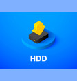 hdd isometric icon isolated on color background vector image
