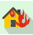House on fire icon flat style vector image vector image